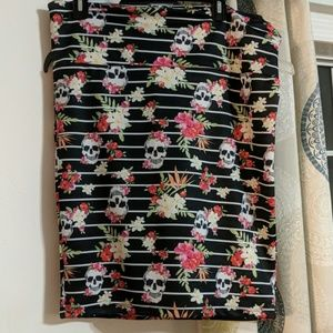 Candy skull midi skirt